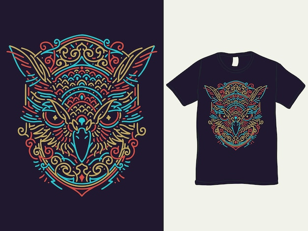 Colorful owl monoline t-shirt and illustration