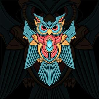 メカ風のカラフルなフクロウ飾りイラスト