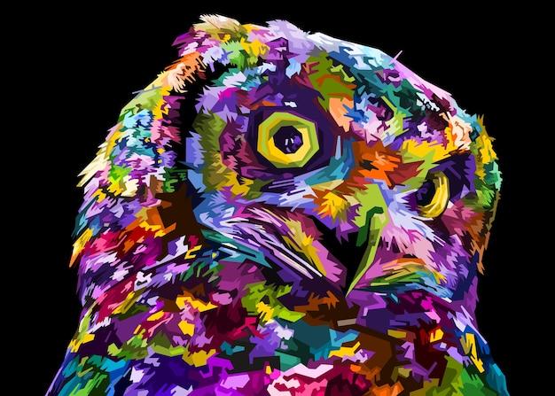 Colorful owl on pop art style illustration.