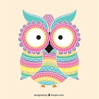 Colorful owl with ornaments