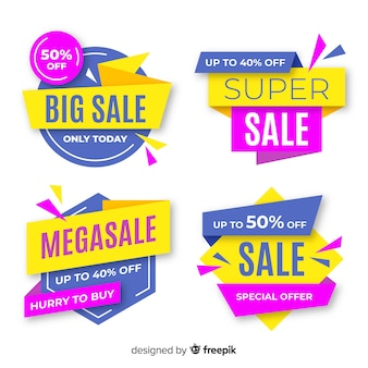 Colorful pack of abstract sale banners