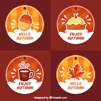 Colorful pack of autumn labels with fun style