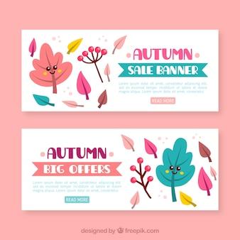 Pacchetto colorato di banner di vendita autunno