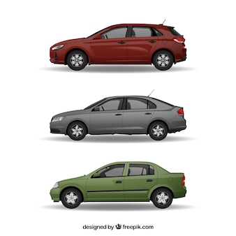Colorful pack of cars with realistic style