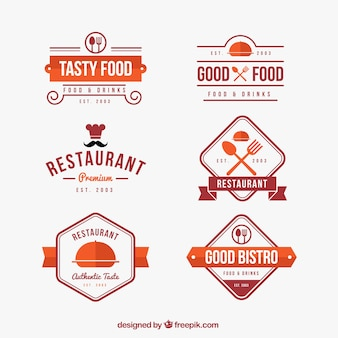 Colorful pack of classic restaurant logos