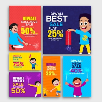 Colorful pack of decorative sale banners for diwali