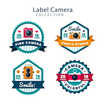 Colorful pack of flat camera labels
