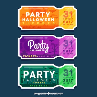Colorful pack of flat halloween tickets