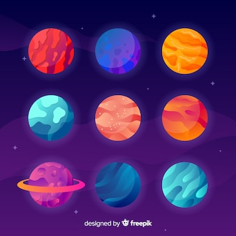 Colorful pack of flat planets