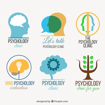 Colorful pack of flat psychology logos
