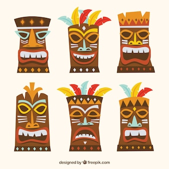 Colorful pack of fun tiki masks