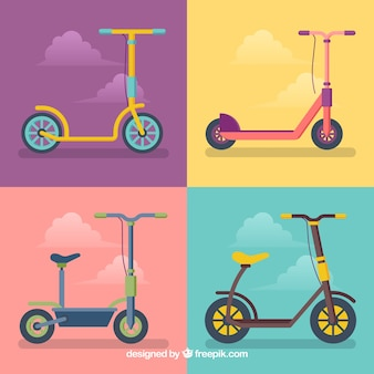 Colorful pack of fun urban scooters