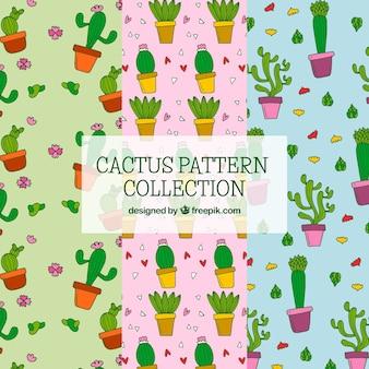 Pacchetto colorato di divertenti modelli di cactus