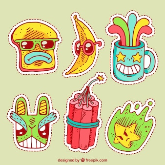 Colorful pack of funny stickers