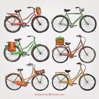Colorful pack of hand drawn bikes