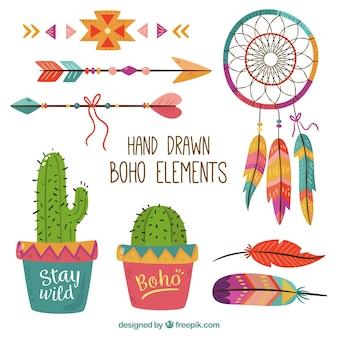 Confezione colorata di elementi boho disegnati a mano