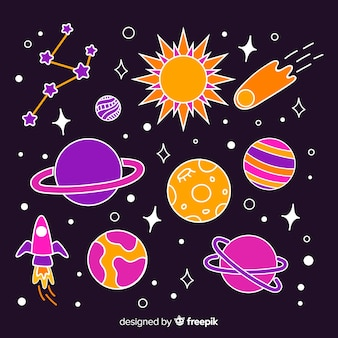 Colorful pack of hand drawn space stickers