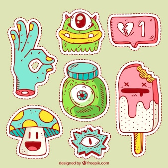 Colorful pack of hand drawn stickers