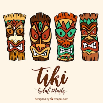 Colorful pack of hand drawn tiki masks