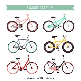 Colorful pack of modern bikes