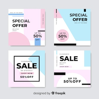 Colorful pack of modern sale banners for social media
