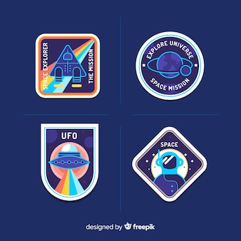 Colorful pack of modern space stickers