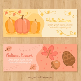 Colorful pack of autumn banners with pumpkins