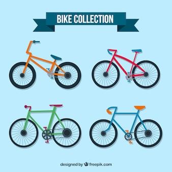 Красочная упаковка велосипедов с плоским дизайном