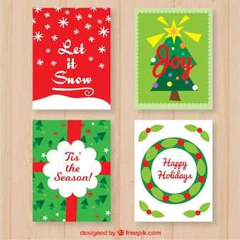 Colorful pack of christmas cards