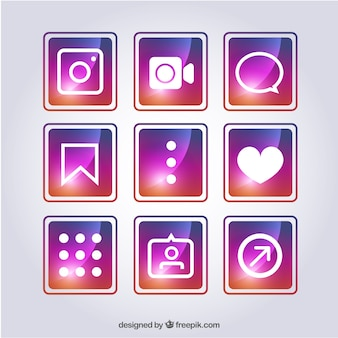 Colorful pack of different social networks icons