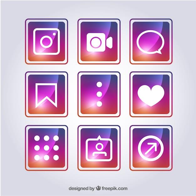 다른 소셜 네트워크 아이콘의 화려한 팩