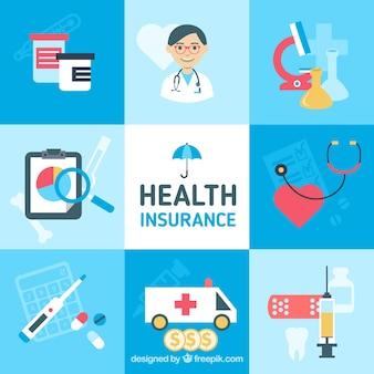 健康保険イラストのカラフルなパック
