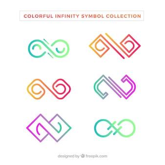 無限のシンボルのカラフルなパック