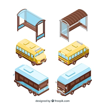 Colorful pack of isometric views of bus and bus stop