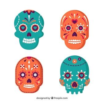 メキシコの頭蓋骨のカラフルなパック