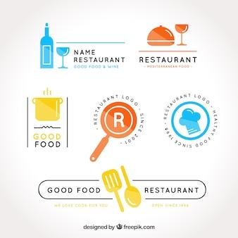 Красочная упаковка логотипов ресторана