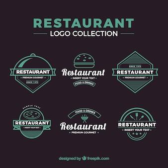 ビンテージ・レストラン・ロゴのカラフルなパック