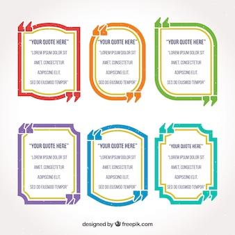 Pacchetto colorato di modelli di quote