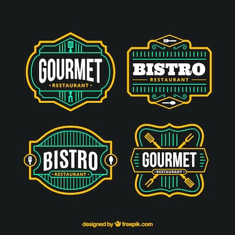 Colorful pack of restaurant logos with retro style Free Vector