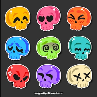 Colorful pack of skulls stickers
