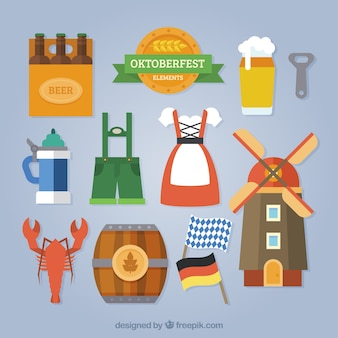 Colorful pack of traditional german elements