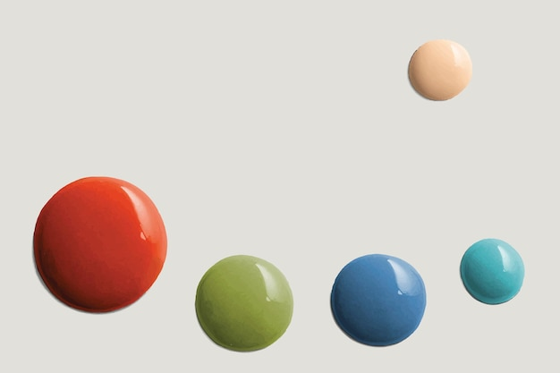 Colorful paint drops border vector gray background in modern style
