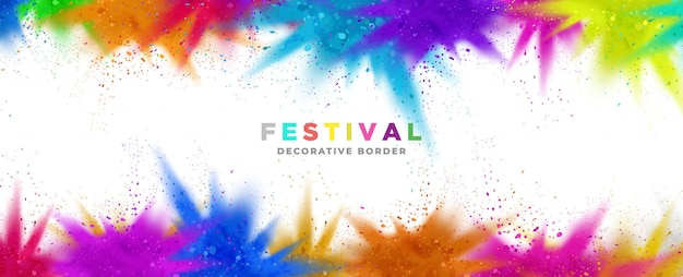 Colorful paint powder festival border