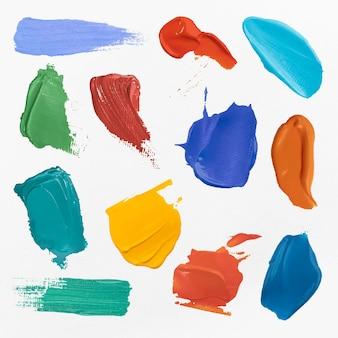 Collezione grafica di arte creativa con tratto di pennello vettoriale strutturato sbavatura di vernice colorata