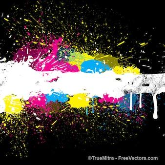 Schizzi di vernice colorata sfondo vector set