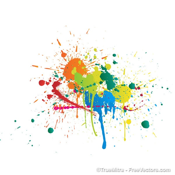 Colorful paint splashes abstract background