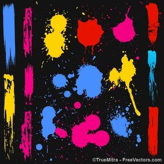 Colorful paint splatters vector art set
