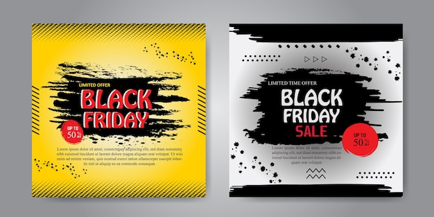 Colorful painted banner for black friday set