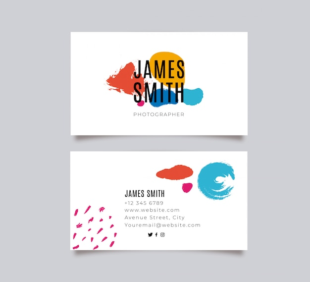 Colorful painted business card