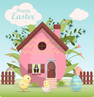 Красочные расписные пасхальные яйца и милый маленький домик в цветах векторная иллюстрация